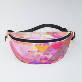 Abstract pink purple yellow - Colorful triangle pattern Fanny Pack