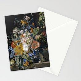 Jan Van Huysum - Poppies, hollyhock, morning glory, viola, daisies Stationery Cards