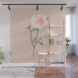 Vintage Watercolor Rose Blush Tones Wall Mural