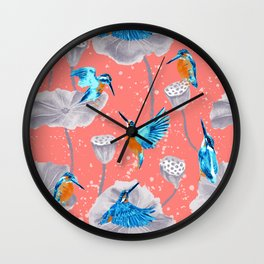 Kingfishers on Lotus flowers // Coral vibe Wall Clock