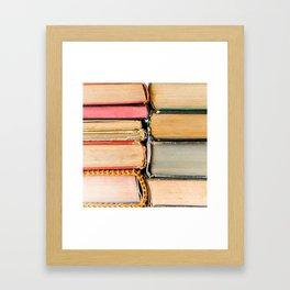 Vintage Books Stacks Framed Art Print