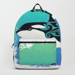 Dancing Orca Whale Ink Teal Backpack