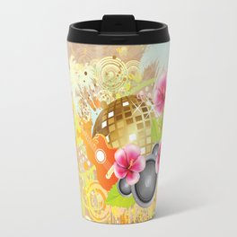 Golden disco ball with pink hibiscus Travel Mug