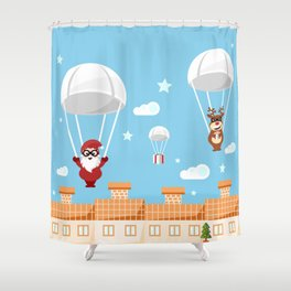 Santa Claus and reindeer parachutists delivering presents Shower Curtain