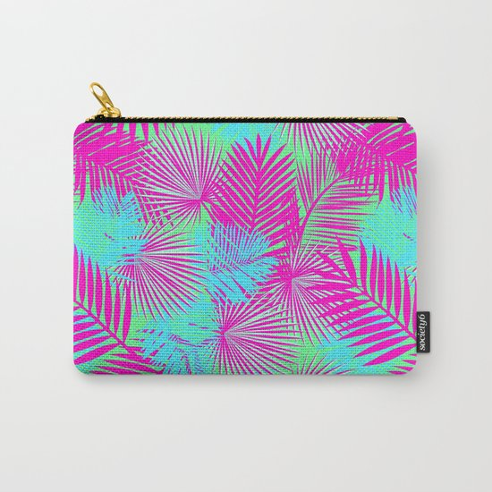 Neon Pink & Blue Tropical Print Carry-All Pouch