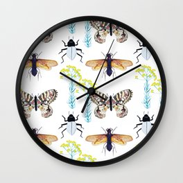 Watercolor Insects Wall Clock