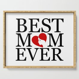 Best mom ever with face of a mother forming a heart- mothers day gifts for mom Serving Tray