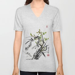Green Orchid One Unisex V-Neck