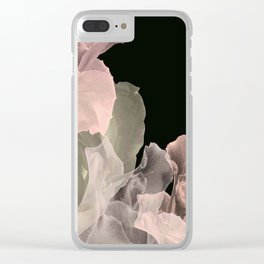 Blush Abstract Roses on Blackground Clear iPhone Case