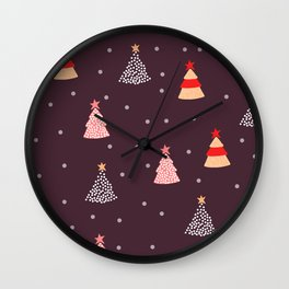 Christmas Trees Pattern Wall Clock