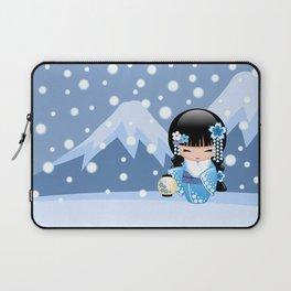 Japanese Winter Kokeshi Doll at Blue Mountain Laptop Sleeve