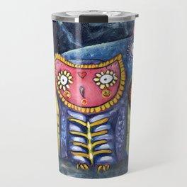 Dia de Muertos Owl Party Travel Mug