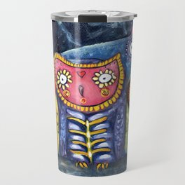 Dia de Muertos Owl Party Travel Mug