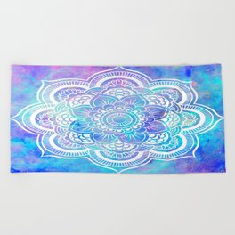 Mandala Pink Lavender Aqua Galaxy Space Beach Towel