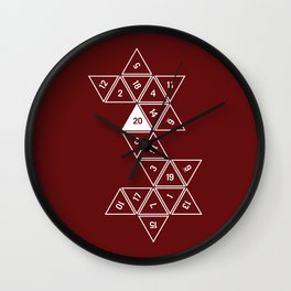 Red Unrolled D20 Wall Clock
