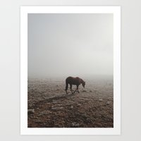 horse Art Prints featuring Fogged Horse by Kevin Russ