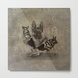 German Shepherd Dog - GSD Word Art Metal Print