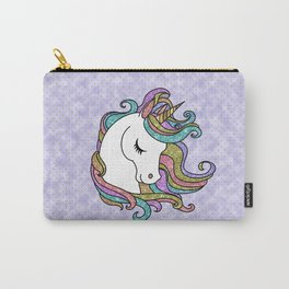 Violet Faux Glitter Unicorn Carry-All Pouch