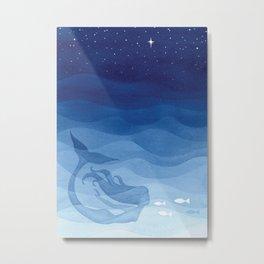 Mermaid, watercolor, blue, fish Metal Print