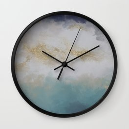 Blue Watercolor Gold Painting I Wall Clock