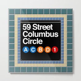 subway columbus circle sign Metal Print