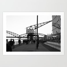 Crane in Harbour Art Print