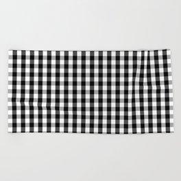 Classic Black & White Gingham Check Pattern Beach Towel