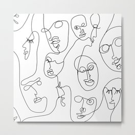 minimalistic faces lineart (black and white) Metal Print