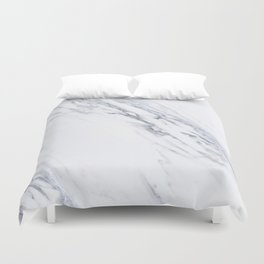 White Marble with Classic Black Veins Duvet Cover