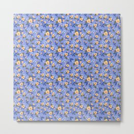 Peach Flowers on Lilac - Floral Pattern Metal Print