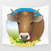 cow Wall Tapestries featuring cow by Li-Bro