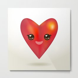 Valentine's Day Card with Kawaii red heart Metal Print