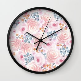 Hand painted pastel pink coral blue watercolor floral Wall Clock
