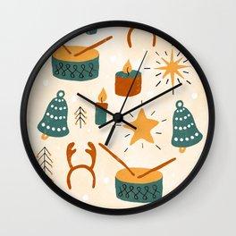 Christmas Toys Terracotta Wall Clock