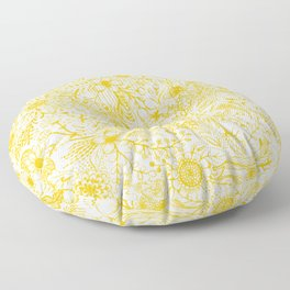 Yellow Floral Doodles Floor Pillow