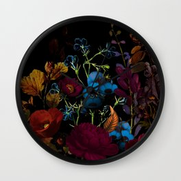 Dark autumn flower garden design floral pattern design Wall Clock