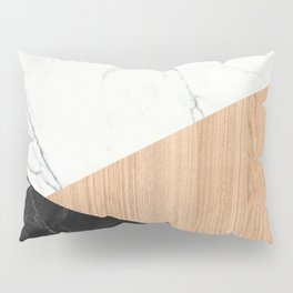 Marble and Wood Abstract Pillow Sham