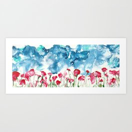 Flores Poppies Art Print