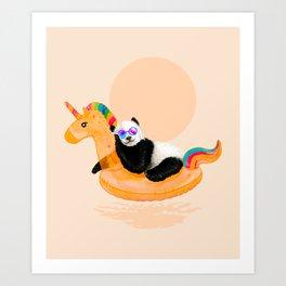 Chillin (Unicorn Panda) Art Print