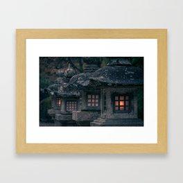 Lanterns at the koyasan Framed Art Print