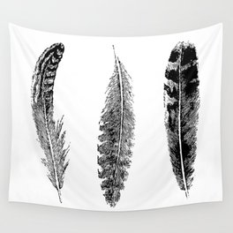 Feather Trio | Black and White Wall Tapestry