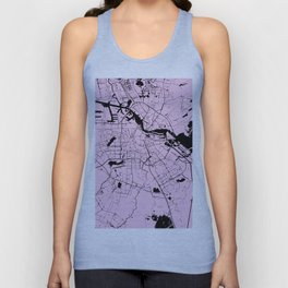 Amsterdam Pink on Black Street Map Unisex Tank Top