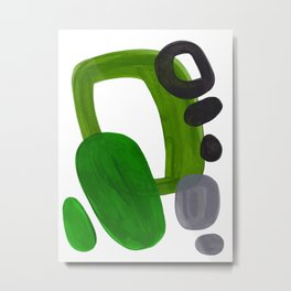 Mid Century Vintage 70's Design Abstract Minimalist Colorful Pop Art Olive Green Dark Green Grey Metal Print