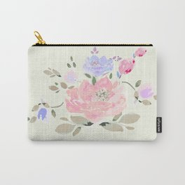 Spring watercolor flowers center piece on light background Carry-All Pouch