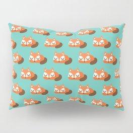 Sleeping Fox Print - Teal Pillow Sham