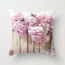 Shabby Chic Pink Peonies Paris Books Wall Art Print Home Decor Throw Pillow