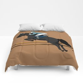 Jumping Black Horse and a Man Comforters