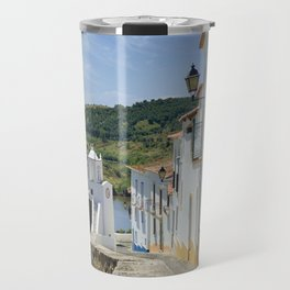 Narrow cobbled street in the Alentejo, Portugal Travel Mug