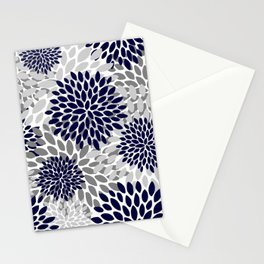 Abstract, Floral Prints, Navy Blue and Grey Stationery Cards