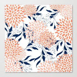 Floral Prints and Leaves, White, Coral and Navy Canvas Print